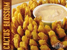 Texas Roadhouse onion cactus blossom, a classic steakhouse appetizer Make your own Texas Roadhouse Cactus Blossom at home! PERFECT RECIPE for parties or everyday! Yummy Appetizers, Appetizer Recipes, Snack Recipes, Cooking Recipes, Snacks, Yummy Recipes, Cooking Ideas, Recipies, Dessert Recipes
