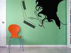 Wall Vinyl Sticker Decals Mural Room Design Pattern Art Bedroom Hair Salon Woman Head Scissors Hairbrush bo2447 by RoomDecalsAndDesigns on Etsy