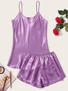 To find out about the Satin Cami Top & Shorts PJ Set at SHEIN, part of our latest Pajama Sets ready to shop online today! Satin Pyjama Set, Satin Pajamas, Pajama Set, Sexy Pajamas, Pyjamas, Cami Tops, Women's Dresses, Silk Bralette, Fashion News