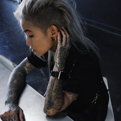 Edgy Short Hair, Short Hair Styles, Blonde Hair With Roots, Mohawk Mullet, Tattoed Girls, Dream Hair, Love Hair, Wow Products, New Hair