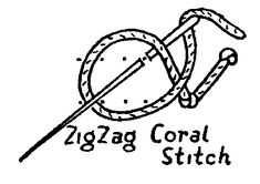 zigzag coral stitch - work this stitch on 2 parallel lines. Throw thread around needle as shown, forming knots on each line in a zig zag pattern.