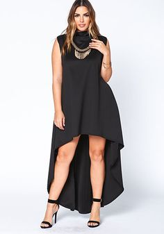 Plus Size Black High Low Scuba Dress