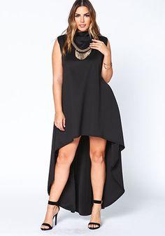Plus Size Black High Low Scuba Dress