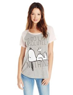 0b270953 Peanuts Juniors' Snoopy To Do List Graphic T-Shirt: Color-block tee  featuring large Snoopy and Woodstock graphic at front Scoop neckline Raglan  short ...