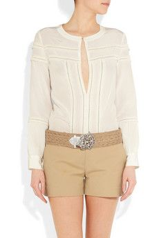 Faggoting on the white blouse, so Out of Africa Proenza Schouler Shoes, Michael Kors Shorts, Bohemian Blouses, Ralph Lauren Collection, Floral Maxi Dress, Spring Fashion, Short Dresses, Scallops, My Style