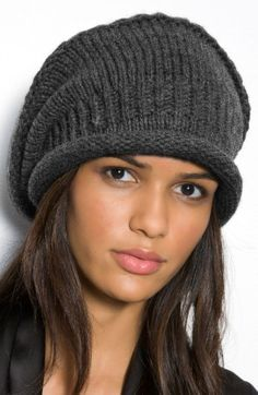 Nordstrom Slouchy Knit Cap available at Slouchy Hat, Knit Beanie Hat, Beanies, Easy Knit Hat, Knitted Hats, Knit Crochet, Crochet Hats, Knit Basket, Knitwear Fashion