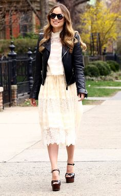 Lace lace lace - love the way Olivia Wilde style her cute lace dress with a cool and rocky biker jacket.