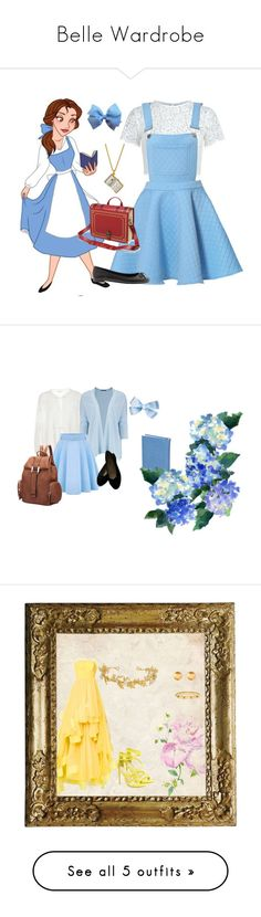 """Belle Wardrobe"" by aisling-kells ❤ liked on Polyvore featuring Disney, Keepsake the Label, Alex Monroe, Banana Republic, disney, belle, disneybound, BeautyandtheBeast, Budd Leather and LoveShackFancy"