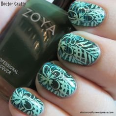 Double stamped jungle manicure