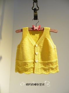 Yellow baby vest,knit baby girl vest, winter trends by likeknitting on Etsy - JFK TFT Baby Knitting Patterns, Baby Clothes Patterns, Knitting For Kids, Crochet For Kids, Baby Patterns, Baby Cardigan, Knit Vest, Baby Girl Vest, Baby Dress
