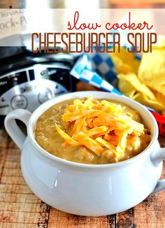 Slow Cooker Cheeseburger Soup from Kitchen Meets Girl