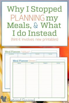 I have a confession to make - it's been almost a year since I stopped meal planning. I'm sharing our version of meal planning along with the printable 'meal' planners that I use.