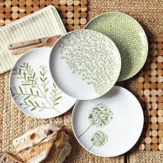 Monochrome doesn't always have to be black and white!  Using differing shades and tones of green creates a unique design on these plates. Why not explore colour at Ceramika Aberdeen UK