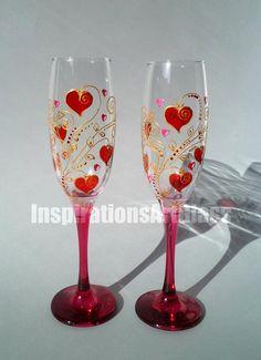 Rouges verres mariage verres peint à la main verres rouges
