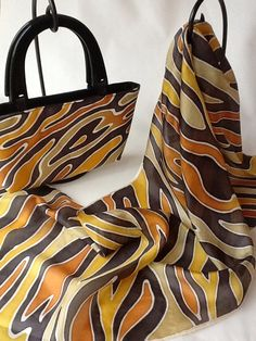 Matching set - hand painted silk scarf with handbag.
