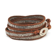 Leather Wrap Bracelet with Palladium Nuggets