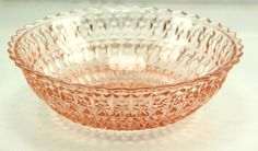 """Jeannette Holiday BUTTON & BOWS 8 5/8"""" vintage Pink Glass Large Fruit Berry Bowl"""