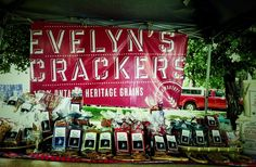 This one really pops! Farmers Market Display, Market Table, Market Displays, Farm Stand, Crackers, Signage, Neon Signs, Marketing, Gifts