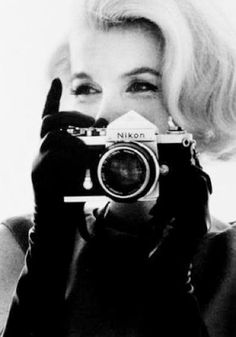 "Marilyn with a Nikon / Art Democracy´s album ""ME & MY CAMERA"" /  ""Photography is a way of feeling, of touching, of loving. What you have caught on film is captured forever... it remembers little things, long after you have forgotten everything."" -Aaron Siskind."