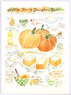 Custom recipe original watercolor painting, Personalized kitchen art, Custom food illustration, Christmas gift for Mom, Foodie wall art gift Watercolor Food, Watercolor Illustration, Watercolor Paintings, Original Paintings, Watercolours, Pumpkin Bars, Famous Recipe, Food Drawing, Kitchen Art