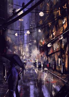 https://www.facebook.com/pages/Puchalski-Art/108435727968 Night Street Digital Painting