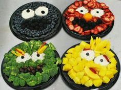 Fruit and Veggie trays with eyes for dipping! Very cute!!