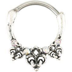 Burnished Silver Filigree Iridescent Stone Septum Hoop Hot Topic ($14) ❤ liked on Polyvore featuring jewelry, earrings, iridescent earrings, iridescent jewelry, silver jewellery, silver filigree jewelry and silver filigree earrings