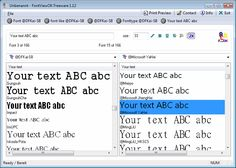 FontViewOK. The program creates a quick visual overview on all installed fonts and helps to compare the font.
