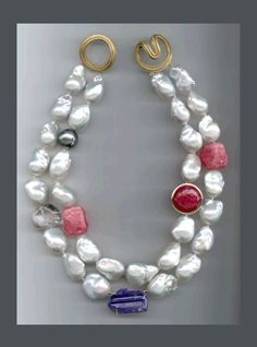 Christopher Walling N-3148 18k yellow gold angela clasp , baroque white and gray south sea tahitian pearls, tanzanite, rhodocrosite, crystal, faceted ruby and diamond