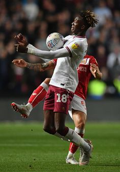 Tammy Abraham of Aston Villa is challenged by Josh Brownhill of Bristol City during the Sky Bet Championship match between Bristol City and Aston Villa at Ashton Gate on September 2018 in. Get premium, high resolution news photos at Getty Images Tammy Abraham, Aston Villa Fc, Championship Football, Jack Grealish, Daily Burn, Bristol City, September 28, Fitspo, Gate