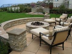Thinking of creating a new patio in your backyard? Need a few backyard patio ideas? Let us help you. After a quick brainstorming session, we came up with these five backyard patio ideas that will surely please. Stone Patio Designs, Small Patio Design, Small Backyard Patio, Patio Bar, Backyard Patio Designs, Backyard Landscaping, Backyard Ideas, Landscaping Ideas, Firepit Ideas