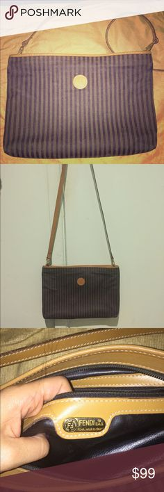 Fendi Vintage Roma Italy 1925 Shoulder Bag Vintage fendi thin striped shoulder bag.  Very gently worn, minor scuff mark on edge of bag barley noticeable with the pattern Fendi Bags Crossbody Bags