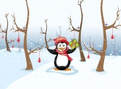 Shop Penguin with Christmas gift winter landscape Holiday Card created by Personalize it with photos & text or purchase as is! Christmas Bags, Christmas Animals, Retro Christmas, Christmas Design, Christmas Themes, Christmas Holidays, Penguin Wedding, Vintage Winter, Winter Landscape