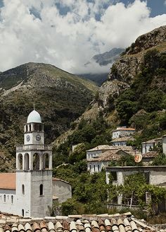 Dhermi, Albania. Dhërmi is one of the 9 villages of the Himara region. The village is built on a slope of the Ceraunian Mountains, at approximately 200 meters in altitude. It is considered by the Albanian youth as a nightlife destination. Photo by Rufux (V)