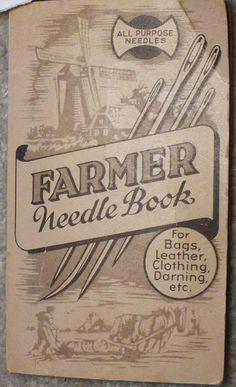 Farmer Needle Book Vintage Leather Needles