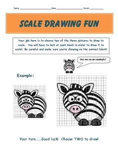 This is a cute activity for middle schoolers learning about scale drawings.  The goal is to take 2 pictures on small grids and draw them on a large...