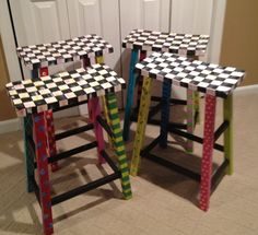 Whimsical Painted Furniture, Painted Bar Stool //Whimsical Painted Furniture  // Alice In Wonderland Stool // Tex Mex Stool