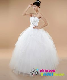 Style 5016, Excellent Organza Ball Gown Strapless Chinese Wedding Dress by CBG.