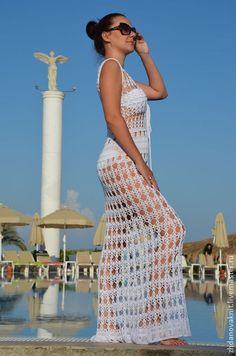 """Пляжное платье """"White"""" - белый,пляжное платье,пляжная мода,пляжная одежда"""