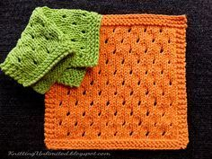 NEW FAVE! Staggered Eyelets Knitted dishcloth pattern.