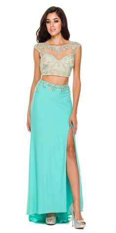 c47e9b5c39 Long Coral Formal 2 Piece Gown Cap Sleeve Sexy Front Slit