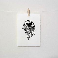 Impresión de mal de ojo: Ojo impresa y audaz diseño impresión Doodle Drawings, Tattoo Drawings, Eye Stencil, Woodcut Art, Doodle Books, Engraving Printing, Stick N Poke Tattoo, Handmade Stamps, Linoprint