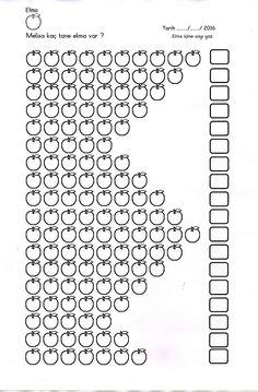 Kaç tane elma var ? Kutucuğa yaz. (Elmaların içerisine de rakamları yazabilir veya boyayabiliriz.)