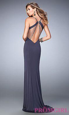 V-Neck Open Back Long La Femme Prom Dress at PromGirl.com