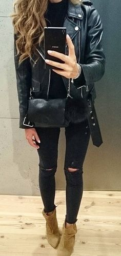 #fall #outfits ·  Leather Jacket // Ripped Jeans // Suede Ankle Boots // Shoulder Bag