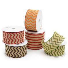 "2.5"" Natural Burlap Ribbon With  Chevron and Stripes (10 Yards per roll)"