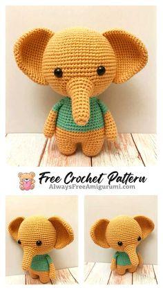 Free Crochet Elephant Pattern & many amigurumi elephant idea... Crochet Elephant Pattern Free, Free Crochet, Crochet Motif, Crochet Toys, Crochet Patterns, Crochet Baby, Free Pattern, Crochet Things, Crochet Animals