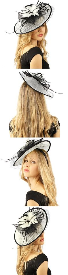 Oval Sinamay Feathers Floral Net Fascinators Millinery Cocktail Derby Hat White