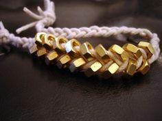 DIY Brass hex nut braid bracelet