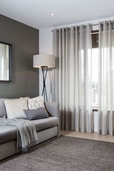 Light grey coloured eyelet curtain with metal rod… Grey Curtains Bedroom, Master Bedroom Interior, Curtains With Blinds, Living Room Modern, Home Living Room, Living Room Designs, Living Room Decor, Living Room Windows, Home Decor Furniture